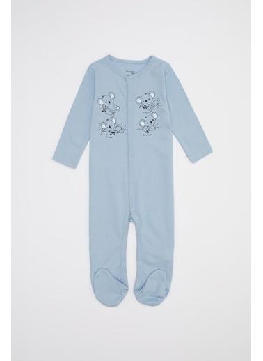 DeFacto Erkek Bebek Baskı Patikli Çıtçıtlı Tulum Mavi